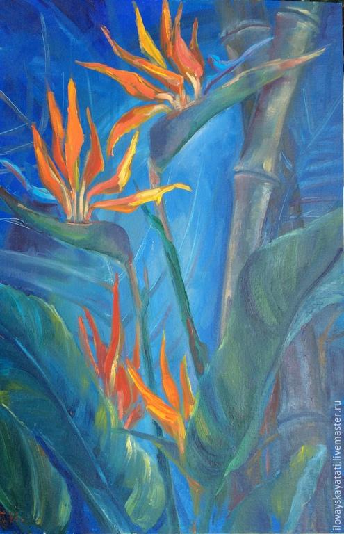 """Картины цветов ручной работы. Ярмарка Мастеров - ручная работа. Купить Картина интерьерная """"Стрелиция"""". Handmade. Оранжевый, картина"""