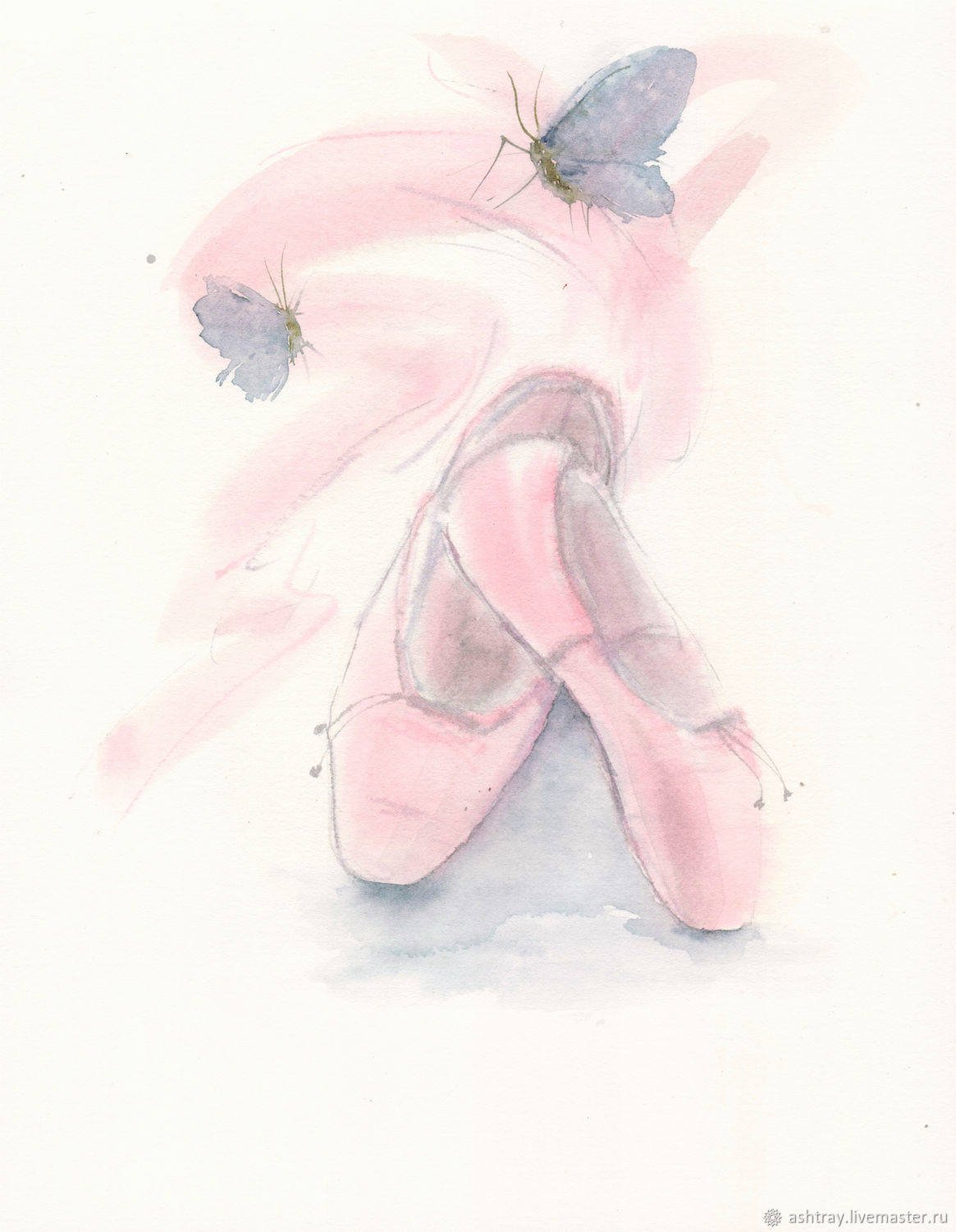 'Inspiration ' watercolor painting, pink, blue, Pictures, Korsakov,  Фото №1