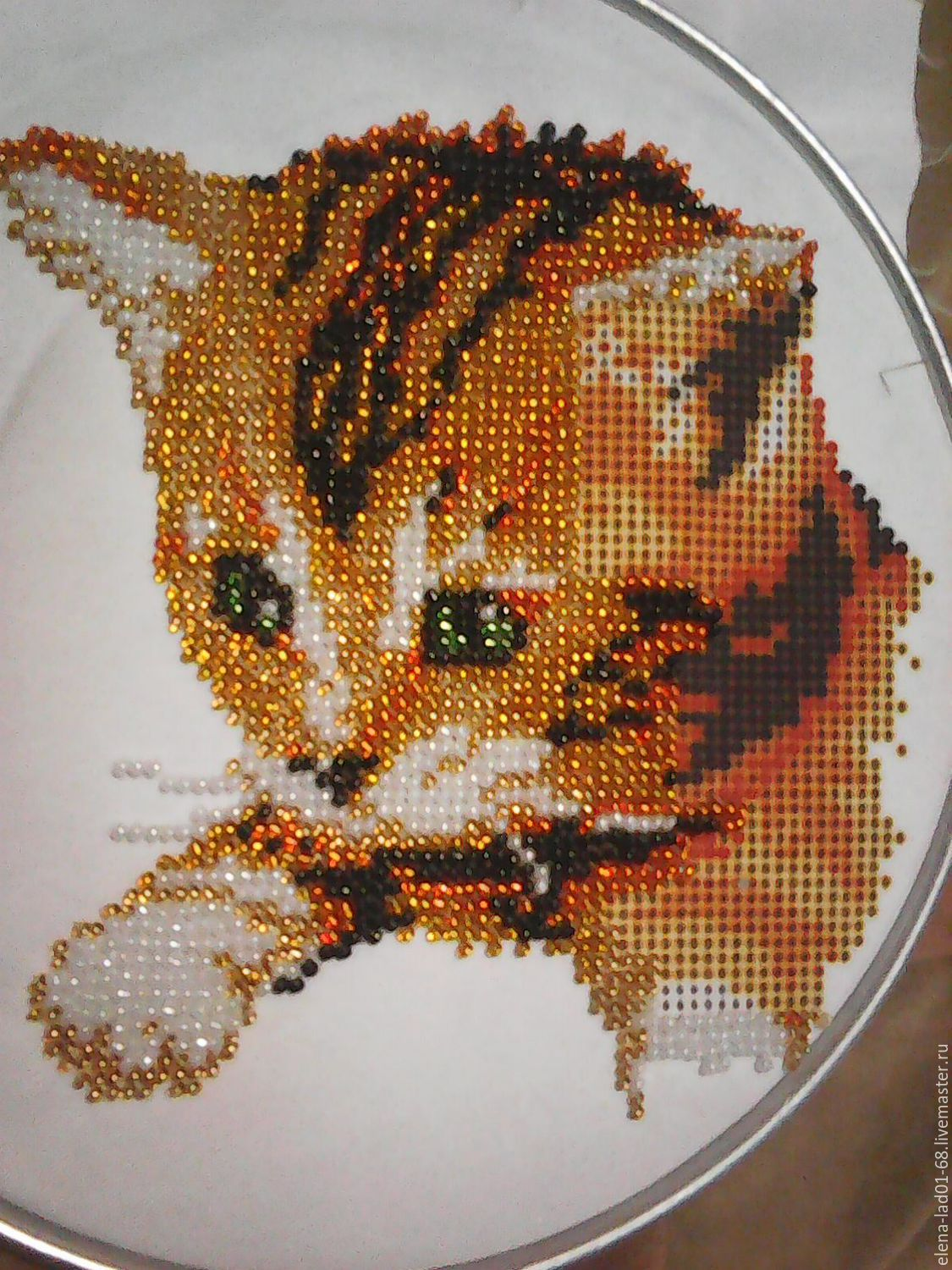 "Embroidery with beads ""Red Cat"", Pictures, Engels,  Фото №1"