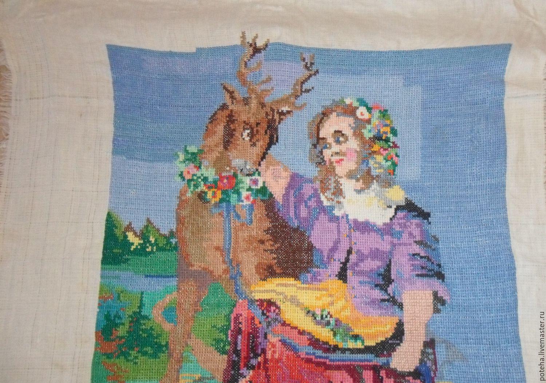 Девушка и олень вышивка