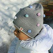 """Работы для детей, ручной работы. Ярмарка Мастеров - ручная работа В Наличии! -""""Цветные пузырьки!)))""""-серенькая шапочка. Handmade."""