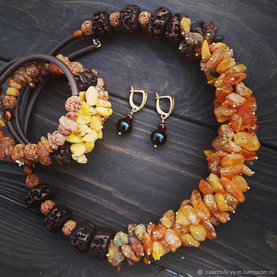 Set of jewelry with amber crumbs, Jewelry Sets, Aban,  Фото №1