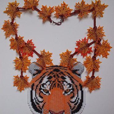 """Украшения ручной работы. Ярмарка Мастеров - ручная работа Колье: """"Сентябрь. Уссурийский тигр"""". Handmade."""