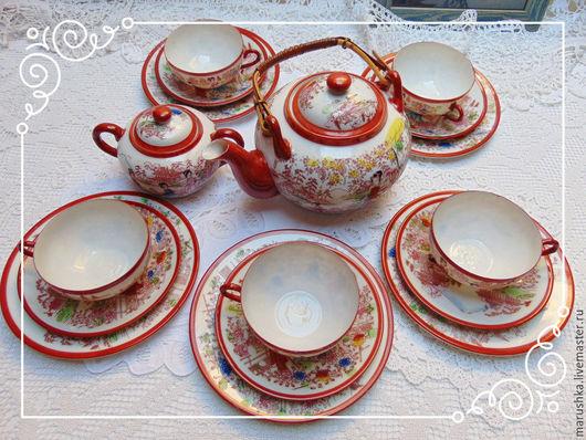Винтажная посуда. Ярмарка Мастеров - ручная работа. Купить Винтажный чайный  сервиз Гейша, костяной фарфор,  Япония. Handmade. Рыжий