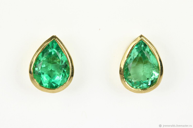 18k Pear Colombian Emerald Earrings Bezel Stud Y