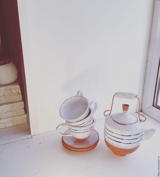 """Сервизы, чайные пары ручной работы. Ярмарка Мастеров - ручная работа. Купить """" Морской мотив"""". Handmade. Комбинированный, кружки"""