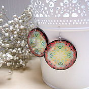Украшения handmade. Livemaster - original item Earrings made of transparent Resin Geometry Pattern Mandala Meditation Ethno Boho. Handmade.