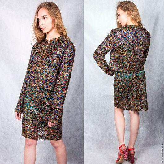Юбки ручной работы. Ярмарка Мастеров - ручная работа. Купить Кружевная юбка разноцветной окраски. Handmade. Комбинированный, шитье, разноцветная