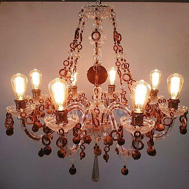 Освещение ручной работы. Ярмарка Мастеров - ручная работа Люстра в стиле лофт, деревянная. Handmade.