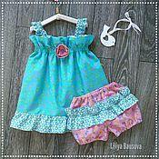 "Dresses handmade. Livemaster - original item Платье-сарафан для девочки ""Летний сад"". Handmade."