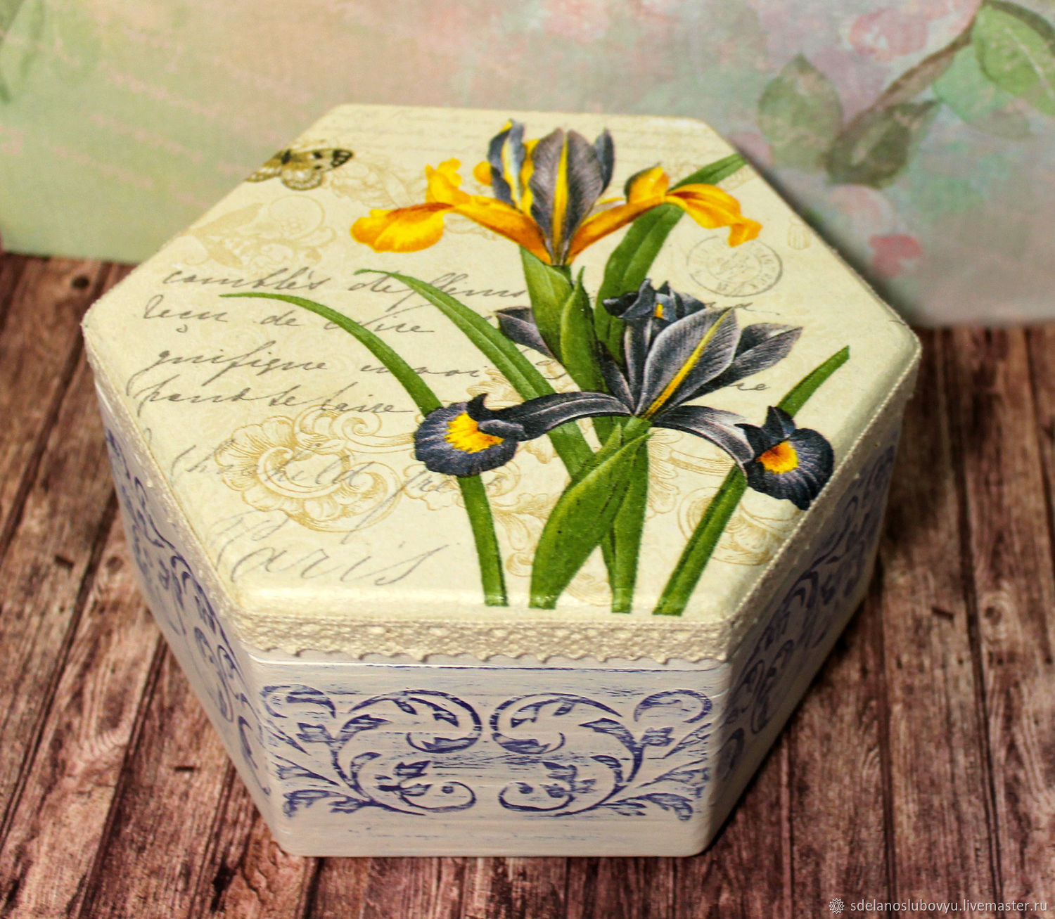 Box Irises decoupage, Box, Moscow,  Фото №1
