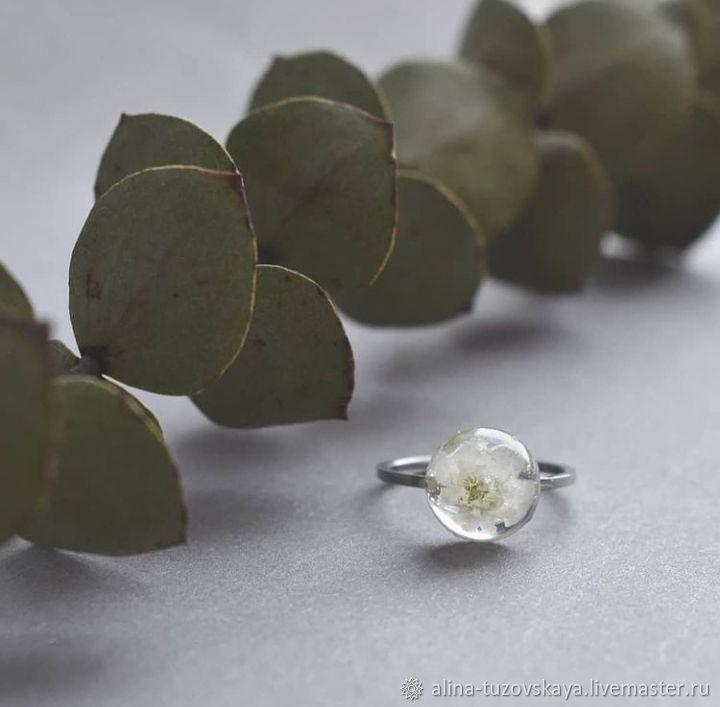 Кольцо с белым цветочком, Кольца, Серпухов,  Фото №1
