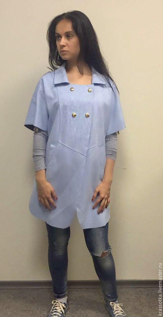 Верхняя одежда ручной работы. Ярмарка Мастеров - ручная работа. Купить Стильный голубой плащик. Handmade. Голубой, плащ женский