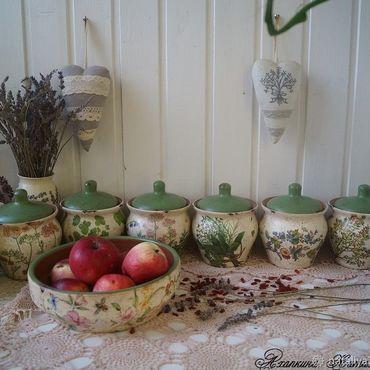 """Для дома и интерьера ручной работы. Ярмарка Мастеров - ручная работа """"Летние ароматы""""- Керамический набор для кухни. Handmade."""