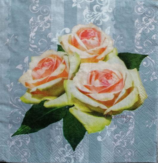 Декупаж и роспись ручной работы. Ярмарка Мастеров - ручная работа. Купить 13шт салфетки для декупажа розы цветы принт декупажный. Handmade.