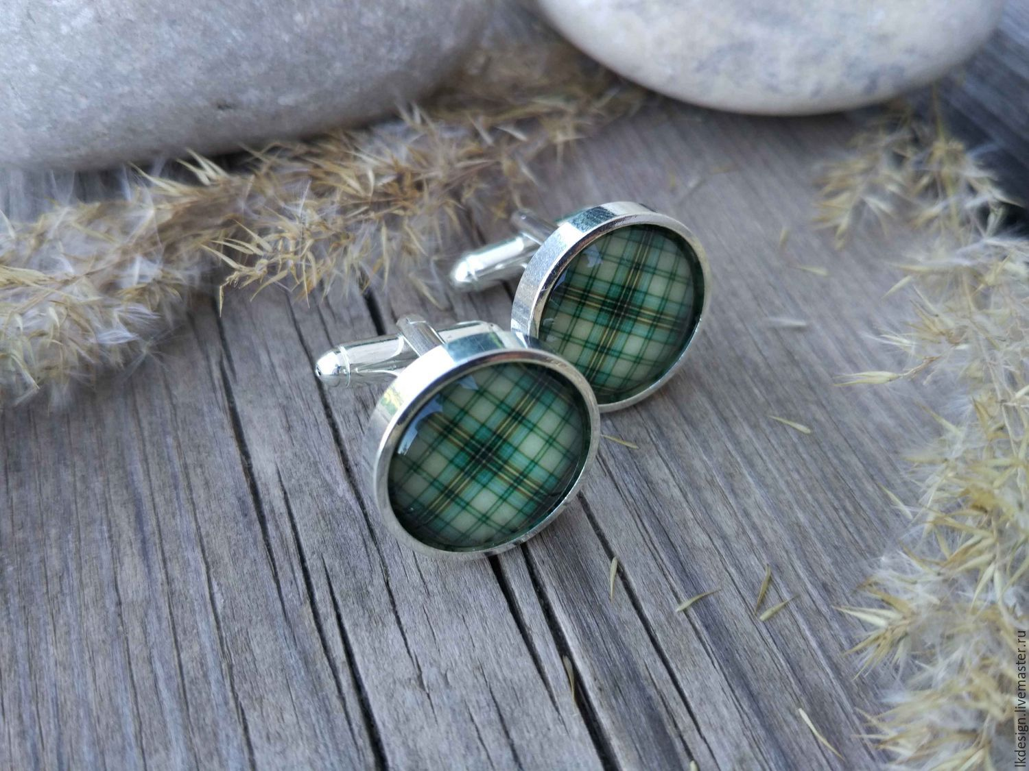 Cufflinks silver plated Cage green (large), Cuff Links, Moscow,  Фото №1