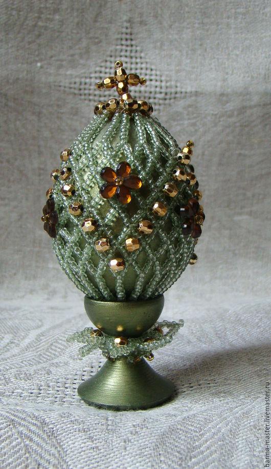 """Яйца ручной работы. Ярмарка Мастеров - ручная работа. Купить Яйцо пасхальное """"Изумрудное"""". Handmade. Сувениры и подарки, яйцо из бисера"""