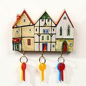 Для дома и интерьера handmade. Livemaster - original item Wooden Key holder Little Cosy Houses. Handmade.