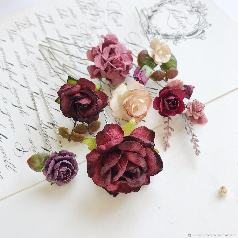 Шпильки для прически в бордовом цвете, шпильки для невесты, Украшения, Санкт-Петербург, Фото №1