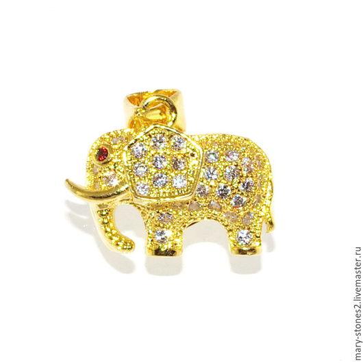 Для украшений ручной работы. Ярмарка Мастеров - ручная работа. Купить Подвеска слон маленький, желтое золото. Handmade.