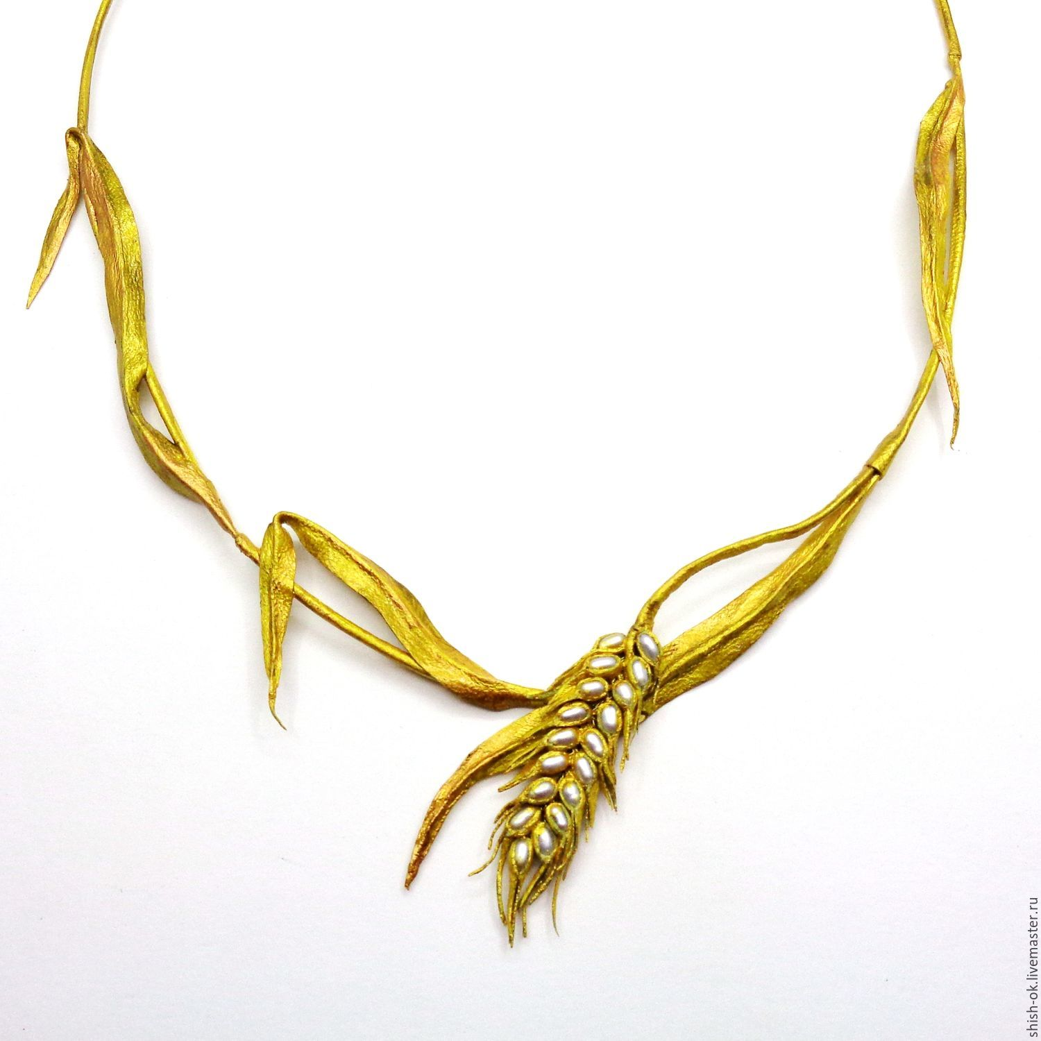 Necklace made of leather and pearls 'Kolosok', Necklace, Moscow,  Фото №1