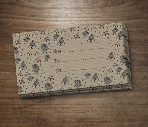 Подарочные наборы ручной работы. Ярмарка Мастеров - ручная работа. Купить Набор визитных карточек «Воробьи и рябина». Handmade. Визитки