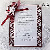 Свадебный салон ручной работы. Ярмарка Мастеров - ручная работа Приглашение-свиток Марсала Бордовый Розы Вино. Handmade.