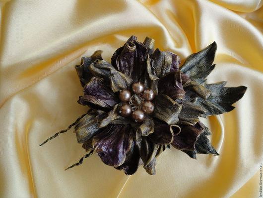 Броши ручной работы. Ярмарка Мастеров - ручная работа. Купить Роза из кожи Таисия. Handmade. Комбинированный, кожаный цветок