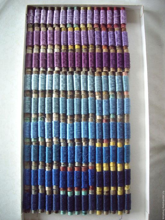 Вышивка ручной работы. Ярмарка Мастеров - ручная работа. Купить Шелковые нитки №65 без вискозы, сирень и синие. Handmade.