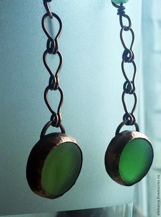 Серьги ручной работы. Ярмарка Мастеров - ручная работа. Купить Серьги Зелёная трава, медь, стекло. Handmade. Зеленый