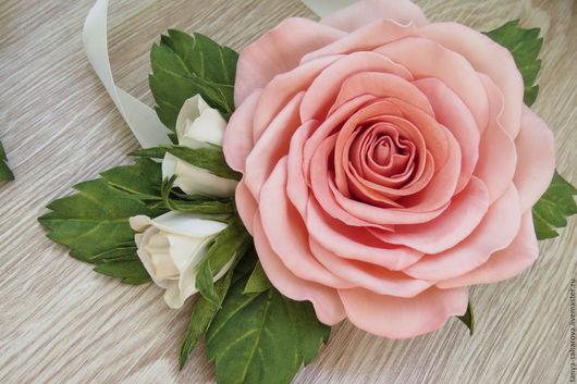 """Заколки ручной работы. Ярмарка Мастеров - ручная работа. Купить """"Роза персиковая"""". Handmade. Бледно-розовый, персиковая роза"""