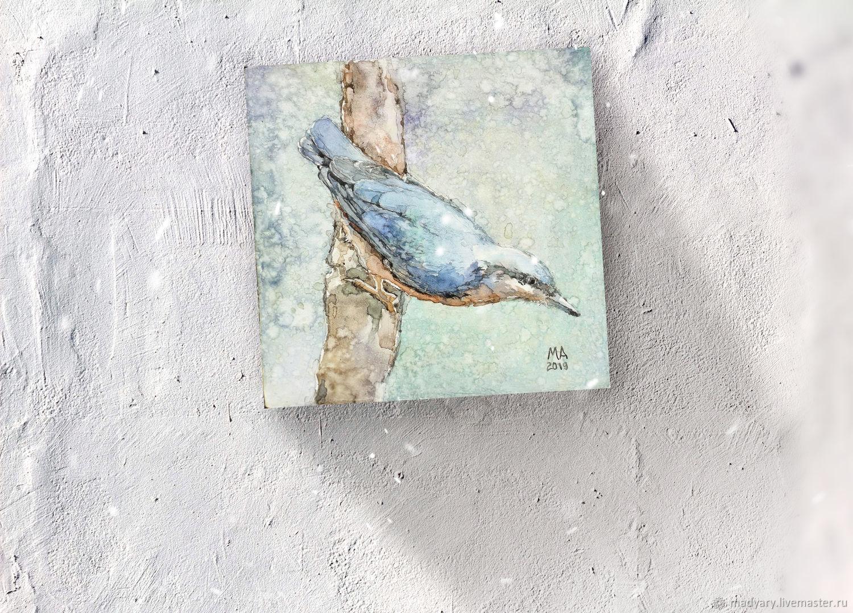 Акварельная картина на холсте Синяя лесная птаха, Картины, Смоленск, Фото №1