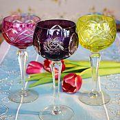 Винтаж handmade. Livemaster - original item Colored crystal wine glasses. Germany.. Handmade.