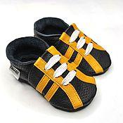 Обувь ручной работы handmade. Livemaster - original item Black&Yellow baby shoes, Sport, Baby sneakers, Leather Baby Shoes. Handmade.