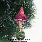 Подарки к праздникам ручной работы. Ярмарка Мастеров - ручная работа грибок сказочный елочная игрушка. Handmade.
