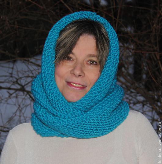 """Шали, палантины ручной работы. Ярмарка Мастеров - ручная работа. Купить Снуд-шарф """" Бирюзовое настроение"""" (полушерсть). Handmade."""