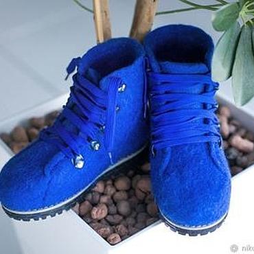 Footwear handmade. Livemaster - original item Felted baby shoes Azure. Handmade.