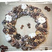 Цветы и флористика handmade. Livemaster - original item Wreath in eco-style with cotton. Handmade.