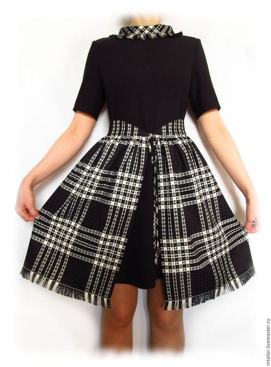 Платья ручной работы. Ярмарка Мастеров - ручная работа. Купить Черное маленькое платье  со съемной юбкой в клетку. Handmade.