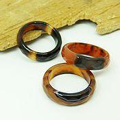 Украшения handmade. Livemaster - original item Ring of brown-black agate 17.5 R-R with cut. Handmade.