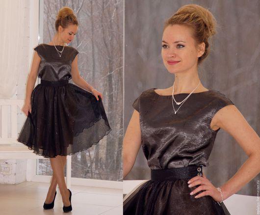 нарядный костюм, нарядный топ, вечерний костюм, вечерняя юбка, вечерний топ, наряд на новый год, черный костюм, юбка-пачка, серебристый топ, черная юбка, костюм на новый год, нарядный костюм, нарядный