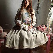 Одежда ручной работы. Ярмарка Мастеров - ручная работа Льняное платье с фрагментом триптиха Иеронима Босха. Handmade.