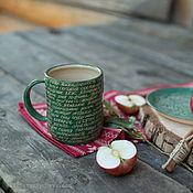 Посуда ручной работы. Ярмарка Мастеров - ручная работа Зеленая теплая кружка. Handmade.