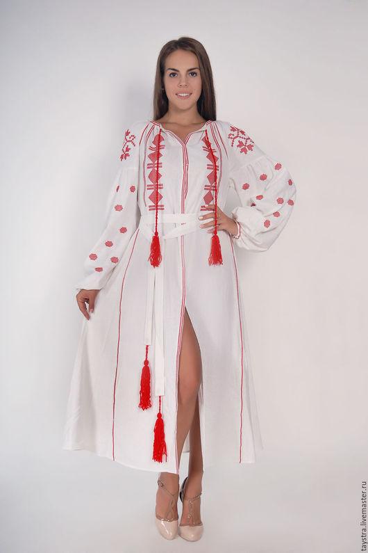 Вышитое платье бохо стиль Vita Kin, Украинское платье вышиванка,льняное платье макси,миди, туники,блузы, рубашки,жилеты,пальто.  Дизайнерская работа -индивидуальный пошив.Размеры XS-4XL