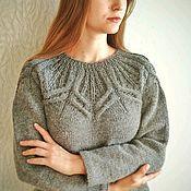 handmade. Livemaster - original item Jumper women knitted gray Round yoke Alpaca. Handmade.
