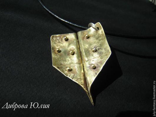 Кулон-самолет из листовой латуни.