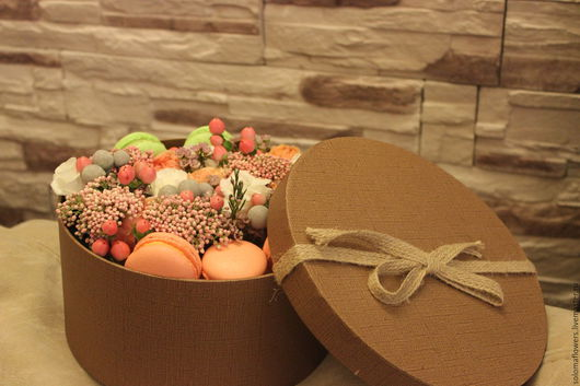Персональные подарки ручной работы. Ярмарка Мастеров - ручная работа. Купить Цветы в шляпной коробке. Handmade. Розовый, шляпная коробка
