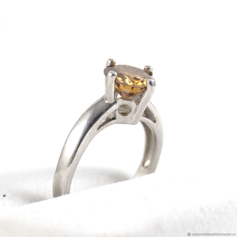 925 Solid Sterling Silver 2.25 ct. Orange Moissanite Ring, Rings, Ryazan,  Фото №1