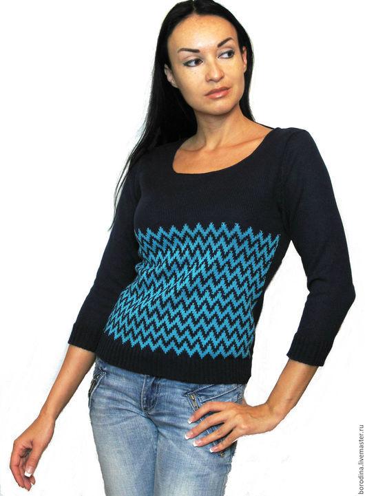"""Кофты и свитера ручной работы. Ярмарка Мастеров - ручная работа. Купить Джемпер """"Зигзаги"""". Handmade. Тёмно-синий, зигзаг, бирюзовый"""