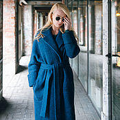 Одежда ручной работы. Ярмарка Мастеров - ручная работа Пальто-халат, лазурит. Handmade.